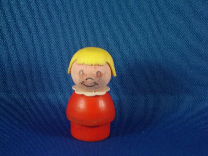 Vintage Fisher Price Little People All Wood Red Girl Yellow Hair FP LP