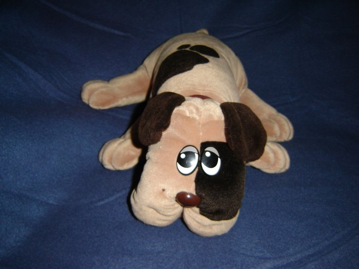 Vintage 1985 Tonka Pound Puppy 18 Inches Tan With Dark Brown Spots And Original Red Collar Marked PP