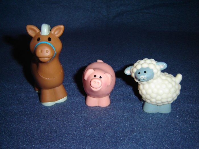 Vintage 1990 Fisher Price Chunky Little People Farm Barn Animals Sheep Horse Pig FP LP
