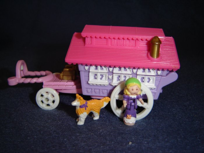 1995 Polly Pocket Circus Wagon On The Go Gypsy Caravan With Polly and Dog Excellent Condition