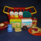 Vintage Fisher Price Pretend Fun Food Chompin Chicken Animal Crackers Ice Cream Milk Bottles Basket