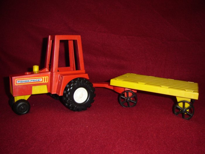 Vintage 1980 Fisher Price Husky Farm Set With Red Tractor and Yellow Wagon Trailer Model 331