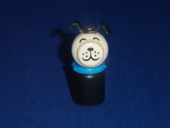Vintage Fisher Price Little People All Wooden Straight Body Black Dog With Blue Collar