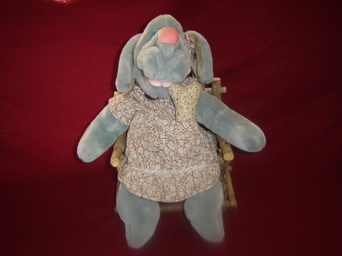 Vintage Grey Heritage Collection Wrinkles The Dog Hand Puppet With Dress and Original Bone 18 Inches