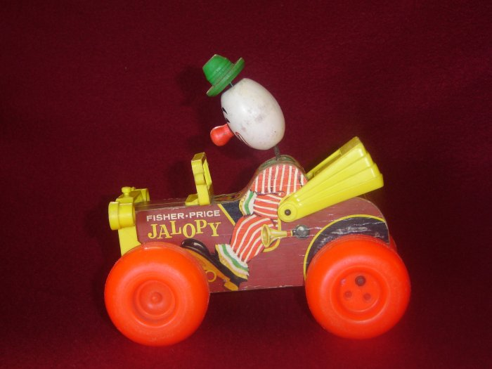Vintage Fisher Price 724 Jolly Jalopy Wooden Pull Toy With Bobblehead Clown
