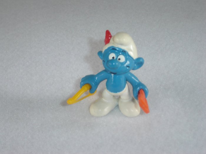 Vintage 1979 Archer Smurf With Bow And Arrow 20102 Bully Peyo Figure PVC West Germany