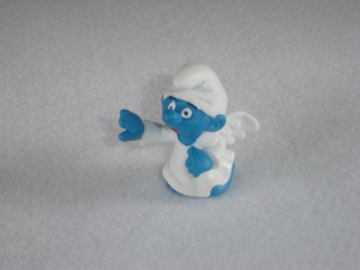 Vintage 1984 Little Angel Smurf With Wings and Pointing Toward Heaven 20212 Schleich PVC