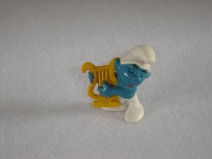 Vintage 1974 Harp Smurf 20070 By Schleich W Berrie Co PVC