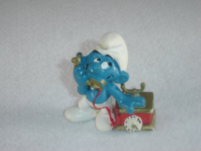 Vintage 1980 Telephone Smurf Talking On The Phone 20062 Schleich PVC W Germany