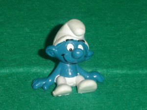 Vintage 1978 Sitting Smurf Made With Large Mold 20026 Schleich PVC