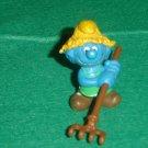 Vintage Smurfs 1983 Haymaker Farmer Smurf With Brown Hat and Brown Rake 20138 Peyo PVC