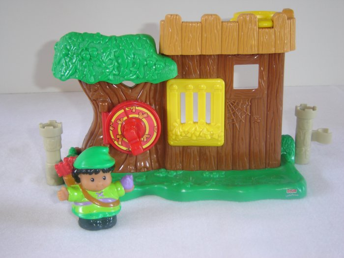 2003 Fisher Price Little People Watchful Woodsman Robinhoods Hideout  Lil Kingdom Castle Newer FP LP