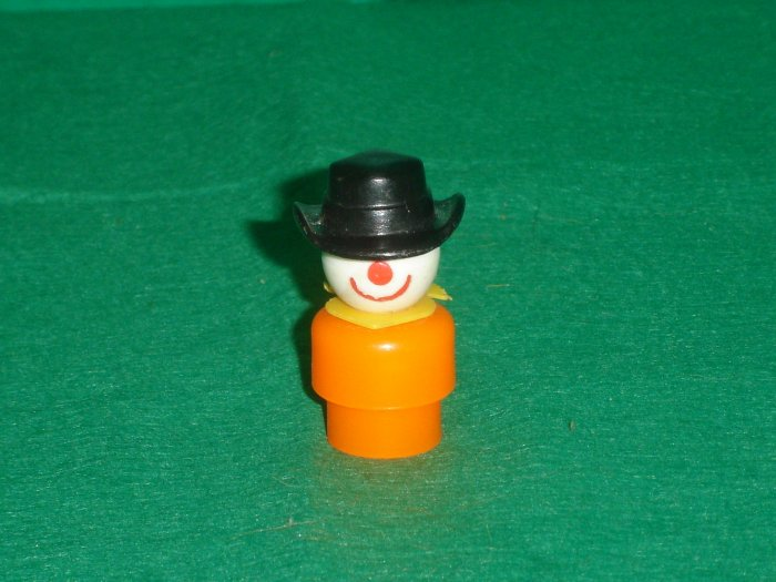 Vintage Fisher Price Little People Orange Circus Clown Black Hat Yellow Collar or Scarf 675