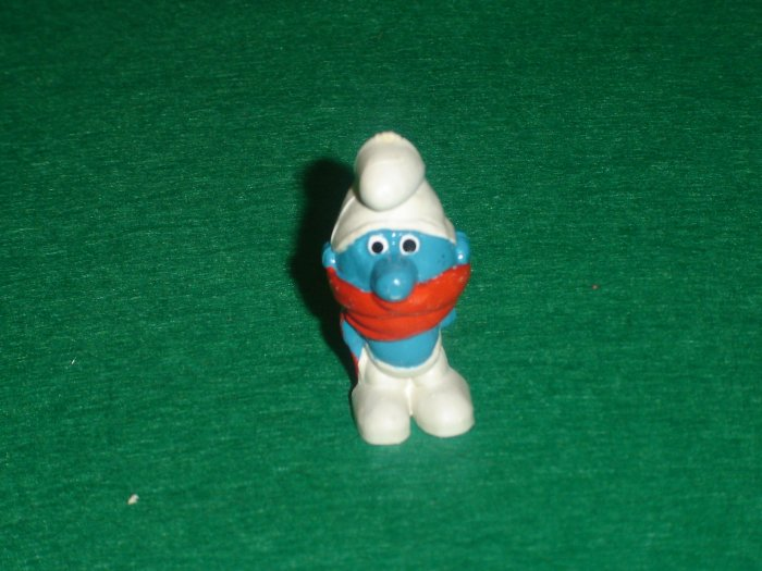 Vintage Smurfs 1969 Shiver Smurf With Red Scarf  20004 Peyo PVC W Germany