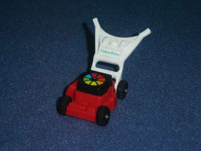 Vintage 1992 Fisher Price Chunky Little People Red and White Mini Lawn Mower 2399