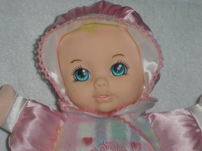 1996 Playskool My Very First Baby Doll Snuzzles 5034 Pink Plaid Satin Soft Plush Original Squeaker