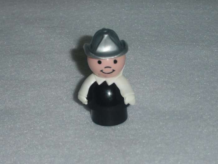 Vintage Fisher Price Little People Fireman Black Body Silver Hat White Arms for Sets 346 396 2351