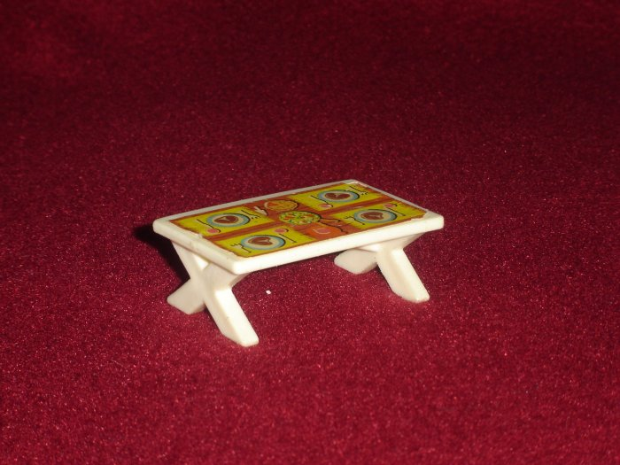 Vintage Fisher Price Little People 990 Play Family A Frame House White Picnic Table