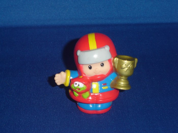2004 Fisher Price Little People Red Eddie Race Car Driver With Trophy  NASCAR Newer FP LP