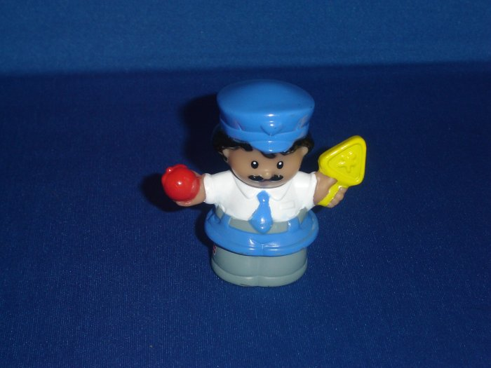 2001 Fisher Price Little People Crossing Guard With Sign and Apple Newer FP LP