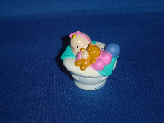 2001 Fisher Price Little People Baby For Sweet Sounds Play House in White Basket Newer FP LP