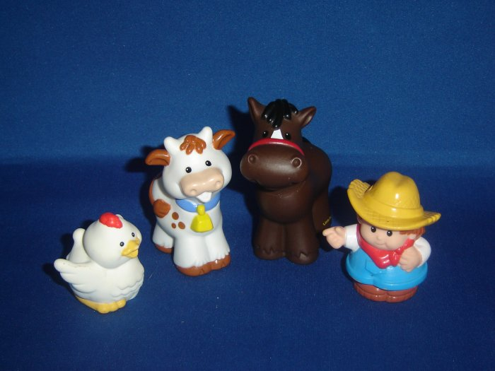 4 Pc Set Fisher Price Little People Horse Cow Chicken Farmer For Barn or Farm Newer FP LP