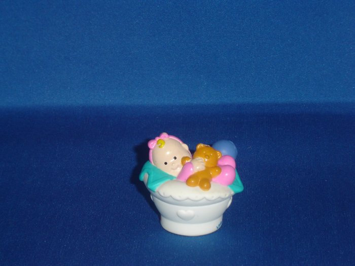 2001 Fisher Price Little People Baby in White Basket W Teddy Bear Newer FP LP