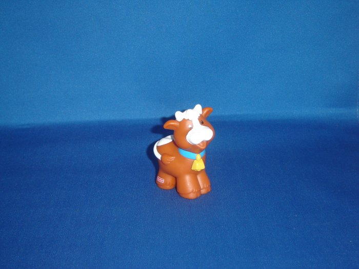 1997 Fisher Price Little People Brown and White Cow for Barn or Farm Newer FP LP