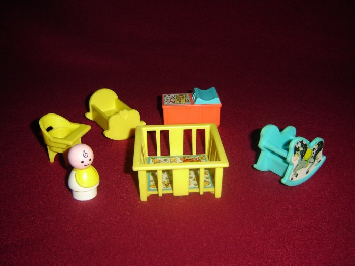Vintage 1972 Fisher Price Little People Nursery 761 With Baby Crib Rocking Horse Cradle High Chair
