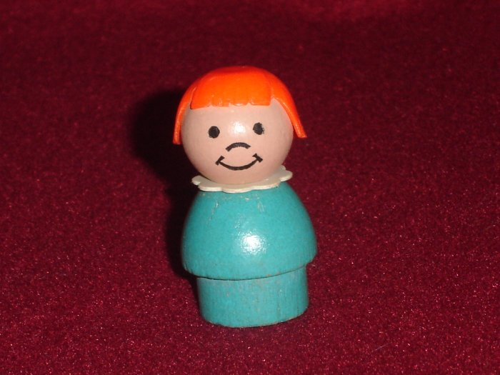 Vintage Fisher Price Little People Mini Snowmobile Girl Wooden Blue W Red Hair 705 Snow Mobile 1971