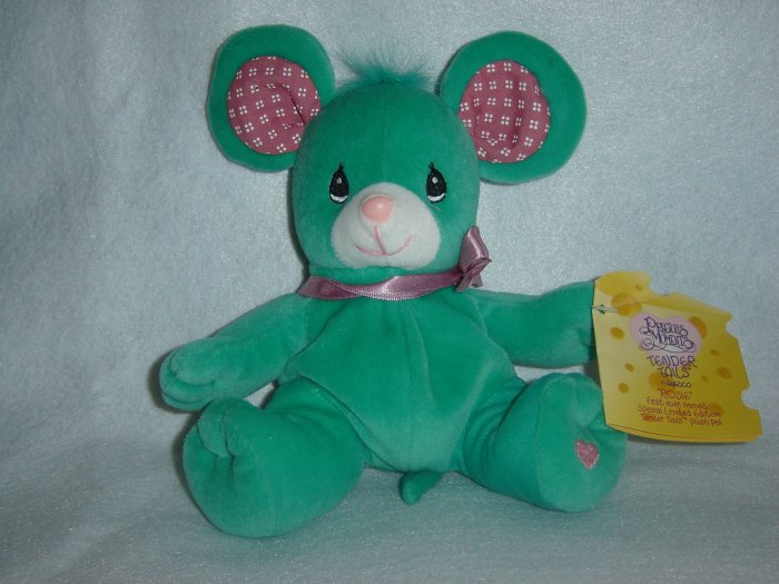 New 1998 Precious Moments Tender Tails Rosie Mouse Green Plush Stuffed Animal Toy Special Edition