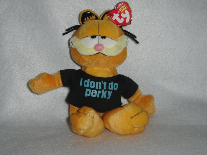NEW Garfield The Cat I DONT DO PERKY TY Beanie Baby Babies 8 Inch Plush Toy Stuffed Animal