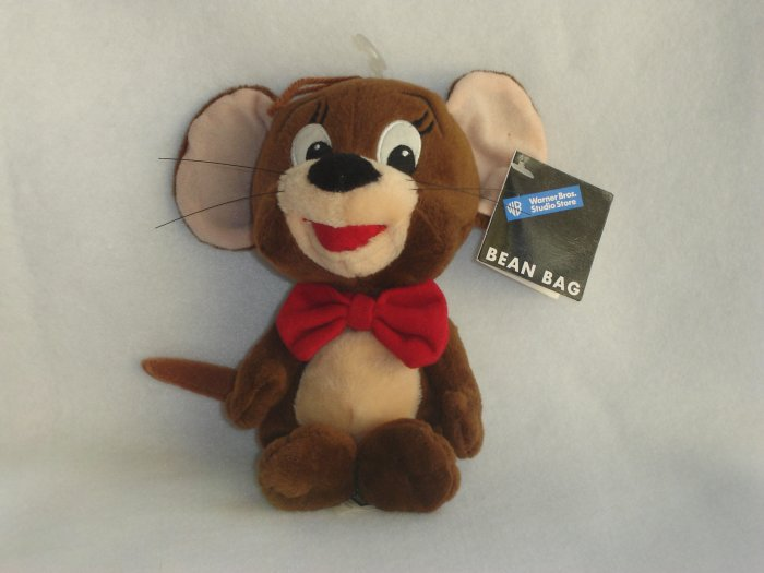 New Warner Bros WB Exclusive Tom & Jerry Cartoon Plush Jerry Mouse Beanie Doll Toy 8 Inches 1998
