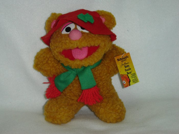 Vintage 1987 Jim Henson Associates Christmas Baby Fozzie Bear Plush W Hat and Scarf 7 Inches New