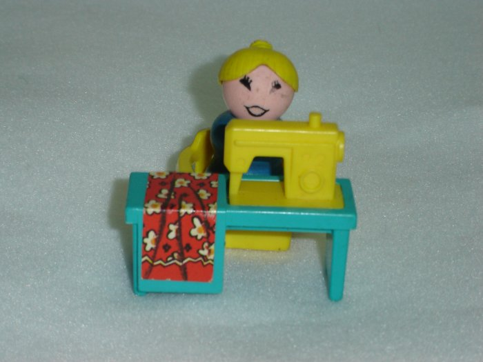 Vintage 1972 Fisher Price Little People Aqua Blue Sewing Machine Set With Mother and Chair Model 725