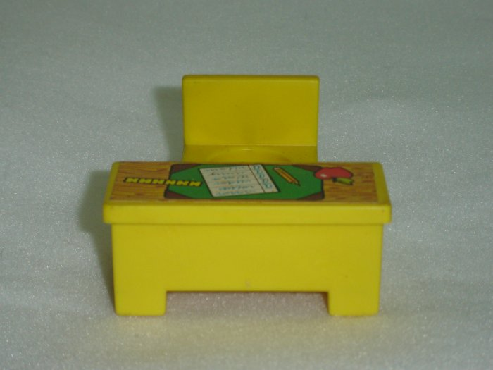 Vintage Fisher Price Little People Yellow Teachers Desk and Chair for 723 School House 1971