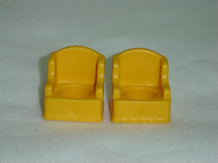 2 Vintage1969 Fisher Price Little People Butterscotch Yellow Wing Chairs for the 952 Set