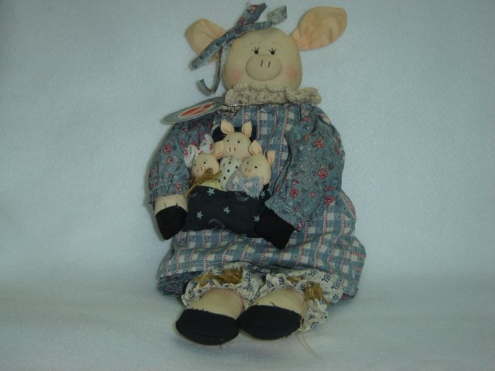 New Delton Products Rag Doll Pig W 3 Little Pigs Shabby Country Style Stuffed Animal 14 Inches
