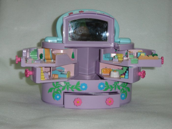 Vintage 1991 Polly Pocket Pullout Playhouse Purple Jewelry Box Carrying Case By Mattel Bluebird Toys