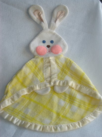 Vintage 1979 Fisher Price Yellow Plaid Bunny Rabbit Security Blanket 441 442 443 Lovey