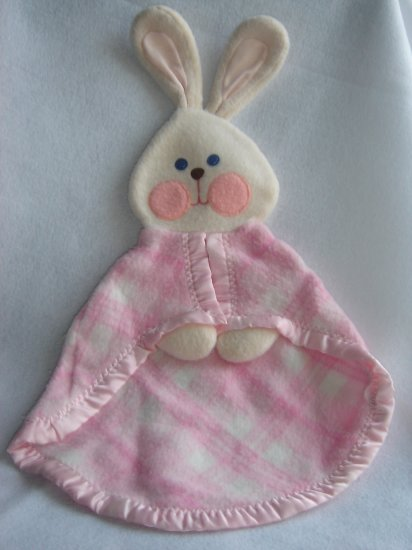Vintage 1979 Fisher Price Pink Plaid Bunny Rabbit Security Blanket 442 443 Lovey