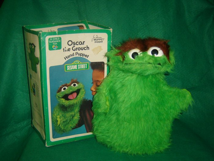 Vintage 1973 Oscar the Grouch Hand Puppet With Original Box From Jim Henson Sesame Street Muppets