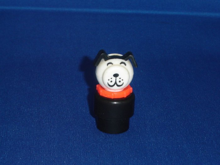 Vintage Fisher Price Little People Black Dog With Red Collar