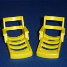 2 Vintage Fisher Price Little People Yellow Lounge Chairs