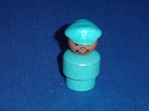 Vintage Fisher Price Little People Pilot Aqua Blue Wood Body AA Play Family Airport 996
