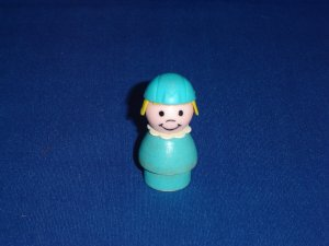 Vintage Fisher Price Little People Stewardess Aqua Blue Wood Body Play Family Airport 996