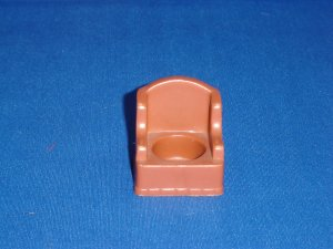 Vintage Fisher Price Little People Medium Brown Stuffed Arm Wing Chair for 952 Play Family House