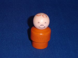 Vintage Fisher Price Little People Wood Plastic Orange Boy for Fun Jet Patio and More