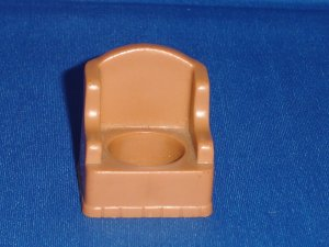 Vintage Fisher Price Little People Brown Stuffed Arm Wing Chair for 952 Play Family House