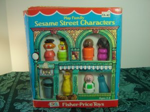 Vintage Fisher Price Sesame Street 939 Characters W Box Bert Ernie Oscar Big Bird & Hooper